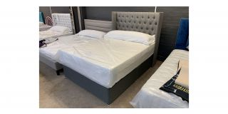 Wing Chesterfield 4FT6 Bed With Chrome Legs Includes Headboard - Clerance - Without Mattress - Mattresses From £149 - 48466-DW