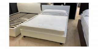 King Rado White Faux Leather 5FT Bed Includes Headboard - Clerance - Without Mattress - Mattresses From £149 - 48473-DW
