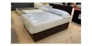 Double Divan Ottoman Brown Faux Leather 4FT6 Bed With Chrome Feet Includes Headboard - Clerance - Without Mattress - Mattresses From £149 - 48474-DW