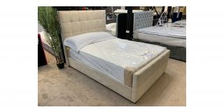 Brooke 4FT6 Cream Fabric Bed Includes Headboard - Clerance - Without Mattress - Mattresses From £149 - 48475-DW