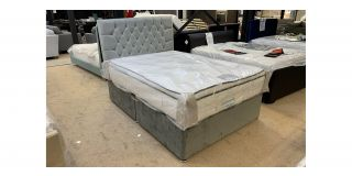 Platinum 4FT6 Double Divan With Chrome Feet Includes Chesterield Headboard - Clerance - Without Mattress - Mattresses From £149 - 48476-DW