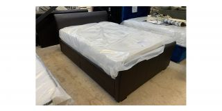 26 Brown Faux Leather Double 4FT6 Sleigh Bed With 4 Drawers Includes Headboard - Clerance - Without Mattress - Mattresses From £149 - 48477-DW