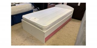3FT Single Wooden Bed With 2 Pink Drawers Includes Headboard - Clerance - Without Mattress - Mattresses From £149 - 48479-DW