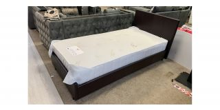 3FT Single Rado Brown Faux Leather Bed Includes Headboard - Clerance - Without Mattress - Mattresses From £149 - 48480-DW