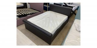 4FT6 Sleigh Bed In Brown Faux Leather With Ottoman Side Lift - Includes Headboard - Clerance - Without Mattress - Mattresses From £149 - 48482-DW