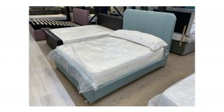 Double Designer 4FT6 Bed In Green Fabric Includes Headboard - Clerance - Without Mattress - Mattresses From £149 - 48483-DW