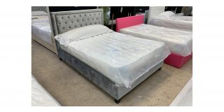 LB22 Double 4FT6 Bed Includes Grey Studded Headboard - Clerance - Without Mattress - Mattresses From £149 - 48484-DW
