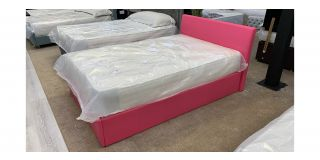 Pink Small Double Faux Ottoman Bed Includes Headboard - Clerance - Without Mattress - Mattresses From £149 - 48485-DW