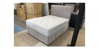 Grey Velvet Double Divan 4FT6 Bed With 2 Drawers Includes Floor Standing Headboard - Clerance - Without Mattress - Mattresses From £149 - 48487-DW