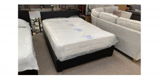 Rado Black Faux Leather 4FT6 Ottoman Storage Bed Includes Headboard - Clerance - Without Mattress - Mattresses From £149 - 48488-DW