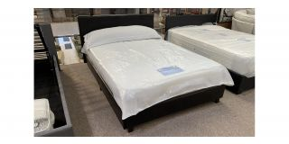 Brown 4FT6 Double Faux Leather Bed Includes Headboard - Clerance - Without Mattress - Mattresses From £149 - 48489-DW