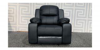 Montreal Black Leather Armchair Manual Recliner Ex-Display Showroom Model 48494