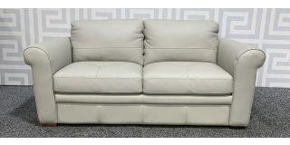 Grey Regular Leather Sofa Sisi Italia Semi-Aniline With Wooden Legs Ex-Display Showroom Model 48497
