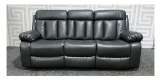 Somerton Grey Leathaire Large Sofa Manual Recliner With Drinks Holder Ex-Display Showroom Model 48498