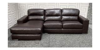 Naples Brown LHF Bonded Leather Corner Sofa With Chrome Legs Ex-Display Showroom Model 48499