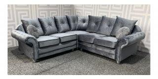 Knightsbridge Grey 2C2 Fabric Corner Sofa With Scatter Back And Wooden Legs Ex-Display Showroom Model 48500