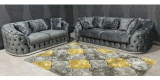 Prada 3+2 Grey Soft Velvet Sofa Set With Scatter Cushions - Chrome Seams And Base Detailing