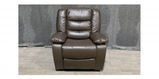 Roma Brown Bonded Leather Armchair Manual Recliner Ex-Display Showroom Model 48512