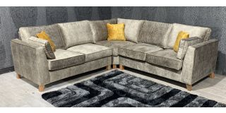 Vincent 2c2 Grey Velour Fabric Sofa Set With Oak Wood Frame - Foam Seats - Wooden Legs And Scatter Cushions