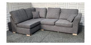Hugo Grey LHF Fabric Corner Sofa With Wooden Legs Ex-Display Showroom Model 48515