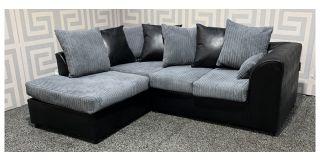 Dylan Grey And Black LHF Jumbo Cord Fabric Corner Sofa With Scatter Back Ex-Display Showroom Model 48520