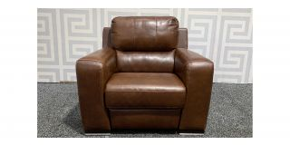 Lucca Brown Electric Recliner Sisi Italia Semi-Aniline Leather With Pink Stitching And Wooden Legs Ex-Display Showroom Model 48522