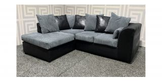 Dylan Grey And Black LHF Jumbo Cord Fabric Corner Sofa With Scatter Back Ex-Display Showroom Model 48530