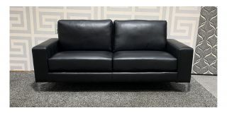 Black Square Arm Bonded Leather 3 Seater Sofa With Chrome Legs Ex-Display Showroom Model 48546