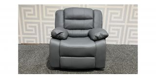 Roma Grey Bonded Leather Armchair Manual Recliner Ex-Display Showroom Model 48548