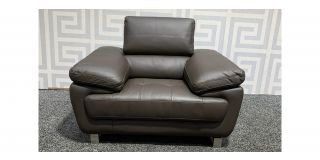 Valencia Brown Leather Armchair With Adjustable Headrest And Chrome Legs Ex-Display Showroom Model 48550