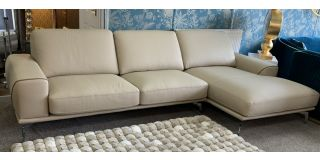 Kaylee Cream New Trend RHF Semi-Aniline Leather Corner Sofa With Chrome Legs