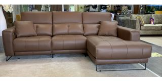Isabelle Brown Rhf Semi-Aniline Corner With 2 Power Recliners Power Adjustable Headrests Contrast Stitching And Chargeable Battery For Cableless Use Available In Different Seat And Colours