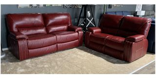 Alderbaran Red New Trend Semi-Aniline Leather 3 Electric Recliner And 2 Seater Static With Contrast Stitching