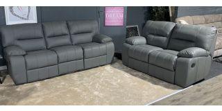 Manor Grey Corrected Grain Leather 3 + 2 Manual Recliner Sofa Set