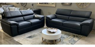 Moran Black Leather 3 + 2 Sofa Set With Adjustable Headrests And Contrast Stitching
