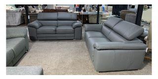 Moran Grey Corrected Grain Leather 3 + 2 Sofa Set With Adjustable Headrests