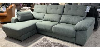 Angela Green Pedro Ortiz Lhf Fabric Corner Sofa With Chrome Legs Adjustable Headrests And 2 Sliding Seats - Storage In Arm And Chaise