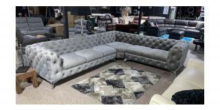 Sandringham Grey RHF 3C2 Fabric Corner Sofa With Chrome Legs Ex-Display Showroom Model 48582