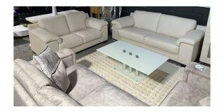Marinelli Cream Leather 3 + 2 Sofa Set With Wooden Legs Ex-Display Showroom Model 48584