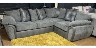 Lex Grey RHF Fabric Corner Sofa Bed With Scatter Back(Mattress Size 185cm x 120cm) Ex-Display Showroom Model 48585
