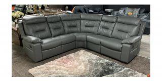 Grey Leather 2C2 Corner Sofa Manual Recliner Ex-Display Showroom Model 48588