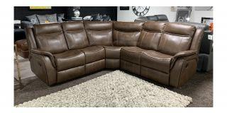 Hampton Tan 2C2 Brown Leathaire Corner Sofa Manual Recliner With Contrast Stitching Ex-Display Showroom Model 48589