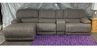 Gloucester Beige LHF Fabric Corner Sofa Manual Recliner With Drinks Holders Ex-Display Showroom Model 48590