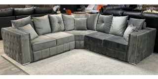 Ruby Grey 2C2 Fabric Corner Sofa With Studded Arms And Scatter Back With Chrome Legs