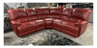 Erica Red 2C2 Leathaire Corner Sofa Manual Recliner Ex-Display Showroom Model 48592