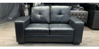 Utah Black Bonded Leather Regular Sofa Ex-Display Showroom Model 48593