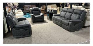 Quilted Pattern Dark Grey Fabric 3 + 2 + 1 Manual Recliner Sofa Set
