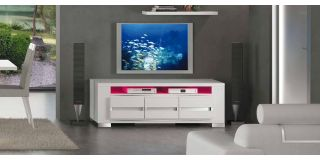 Elegance Diamond White Three Door TV Unit Assembled