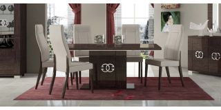 Prestige Warm Umber Birch 1.8m (Extending to 225cm) Dining Table With Six Cream Chairs With Metal Logo