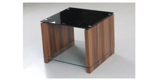 Atlanta End Table Walnut Paper Finish with Black Glass Top and Clear Glass Shelf